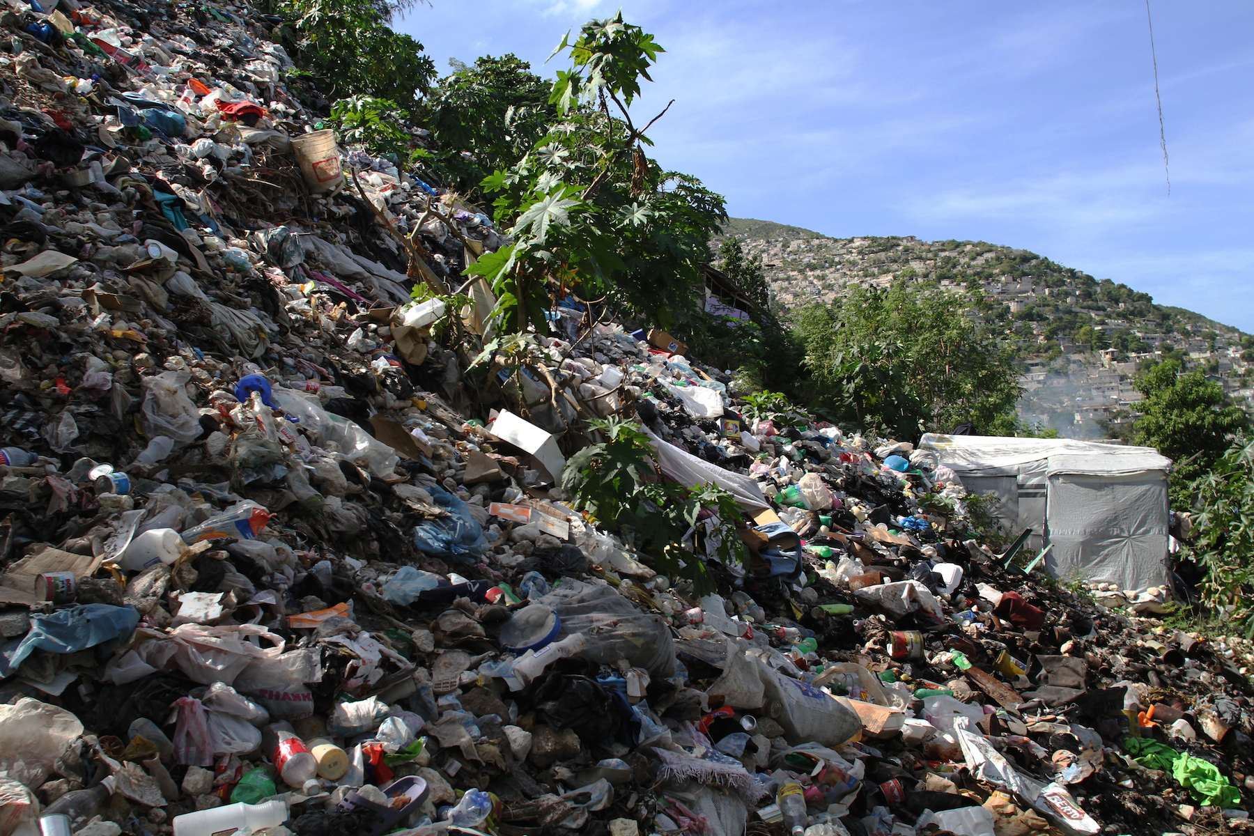 Garbage piles up above the Acra 2 camp in Port-au-Prince's hilly Pétion-Ville commune.